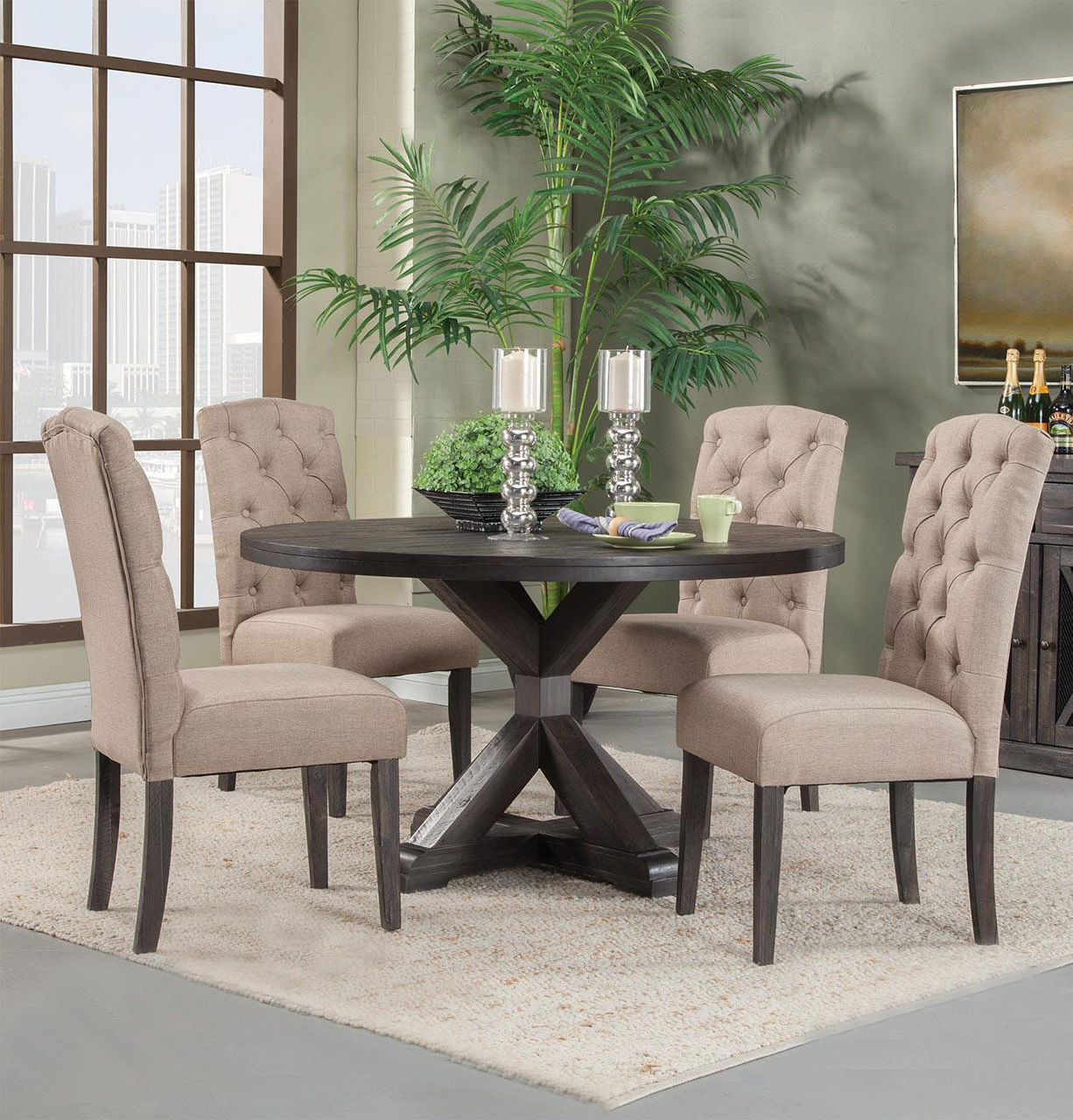 Alpine newberry 54 round pedestal table set in salvaged grey for 4 persons