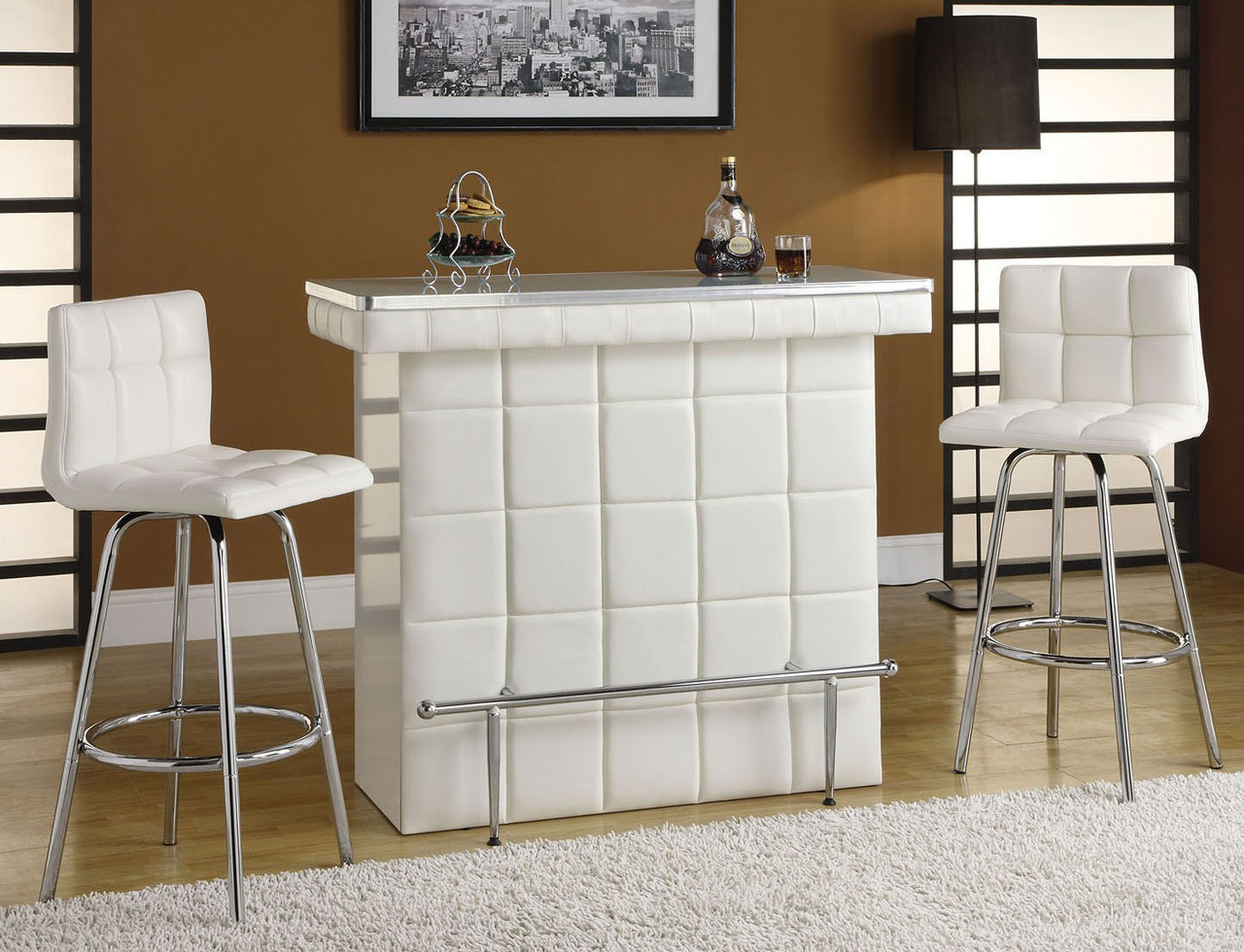 Rony Chrome White Leatherette Bar Table Set Home Bar Counters