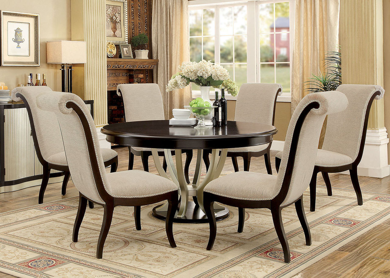 60 Quot Abela Espresso Champagne Round Dining Table Set For 6