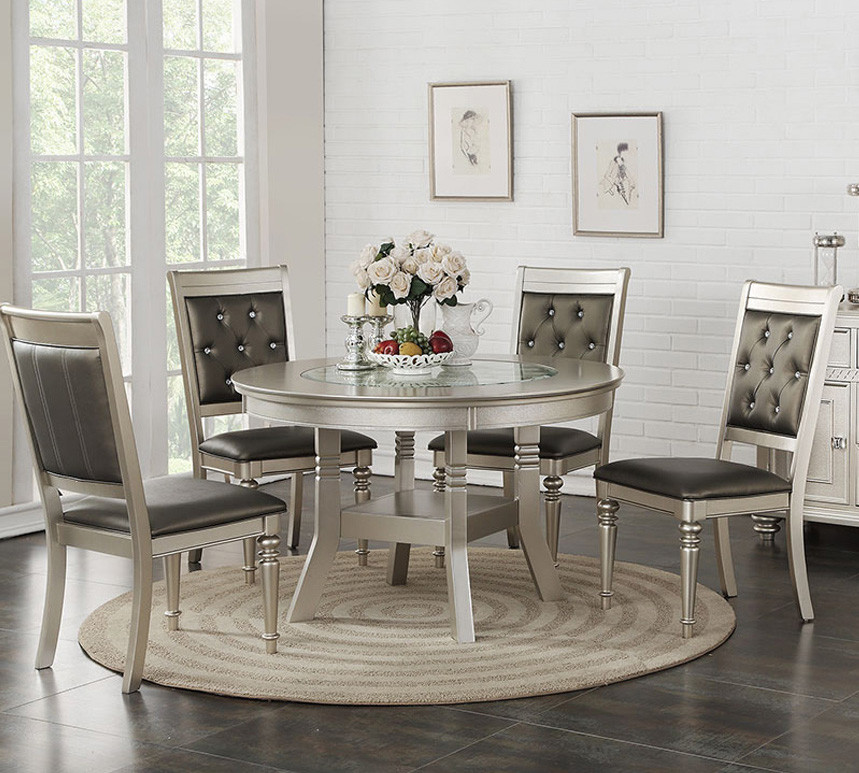silver dining room set Stella Silver Round Dining Table Set | Round Tables for 4 Persons silver dining room set