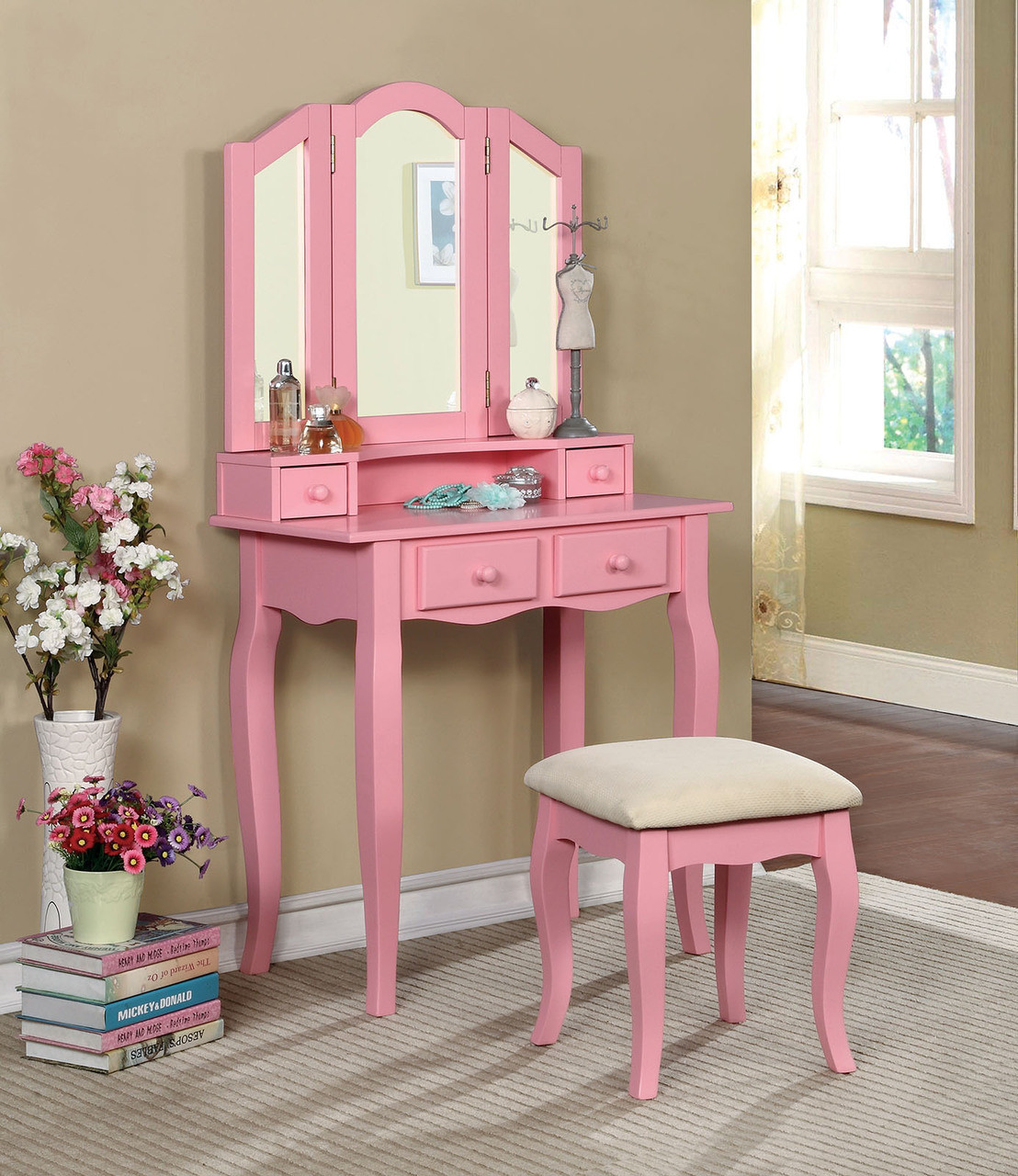 Janelle Makeup Vanity Table With Mirror And Bench
