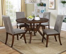 Furniture of America Walnut Round Dining Table Set | CM3354RT