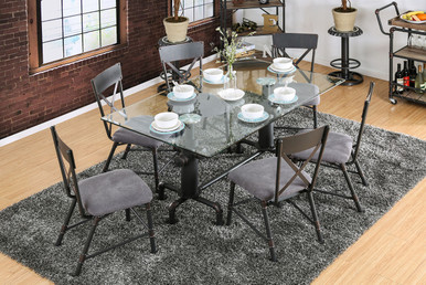 Industrial Fire-Hydrant Themed Metal Glass Dining Table Set