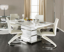 fa96af1e8cca5d Furniture of America White Extending Dining Table with Four Chairs