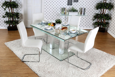 Furniture of America Rectangular Glass Top Dining Table with Four Chairs