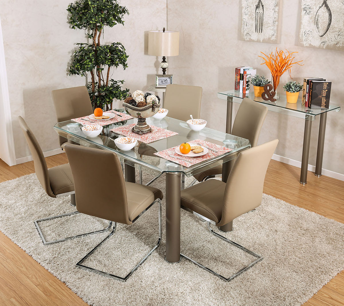 Walkerville CM3361T Rectangular Glass Table With Six Chairs ...