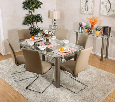 Walkerville CM3361T Rectangular Glass Table with Six Chairs