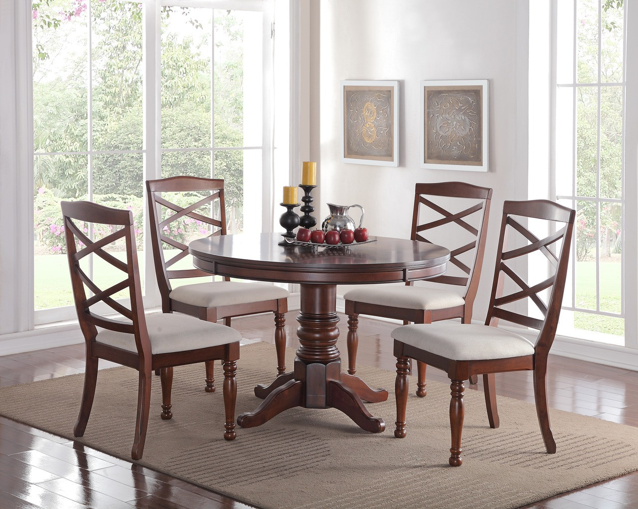 Easton 48 Dark Cherry Round Dining Room Table With Four Chairs