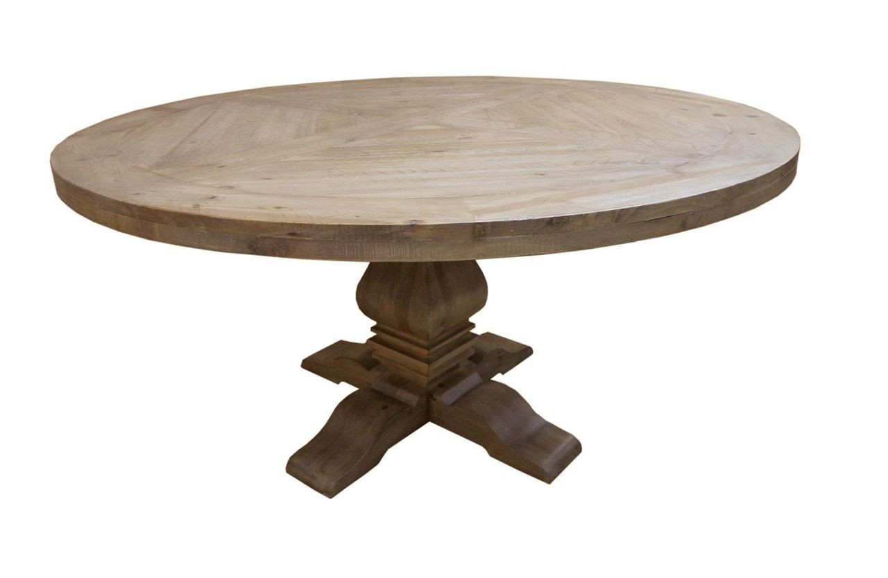 60 Round Dining Table In Warm Natural Finish