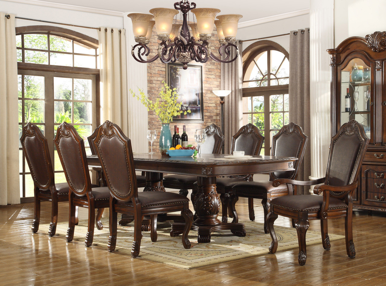 Alexandria Bay 96 Brown Cherry Extendable 9 PC Dining Set