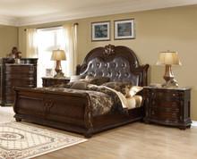 Amesville 4-Pc Brown Cherry Sleigh Bedroom Set   Sleigh Bedroom Set