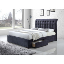 Caballo Tufted Dark Gray Fabric Bed with Drawers   Stylish Tufted Headboard Bed with Storage