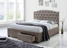 Cave Spring Tufted Mink Fabric Bed with Drawers   Elegant Platform Bed with Drawers