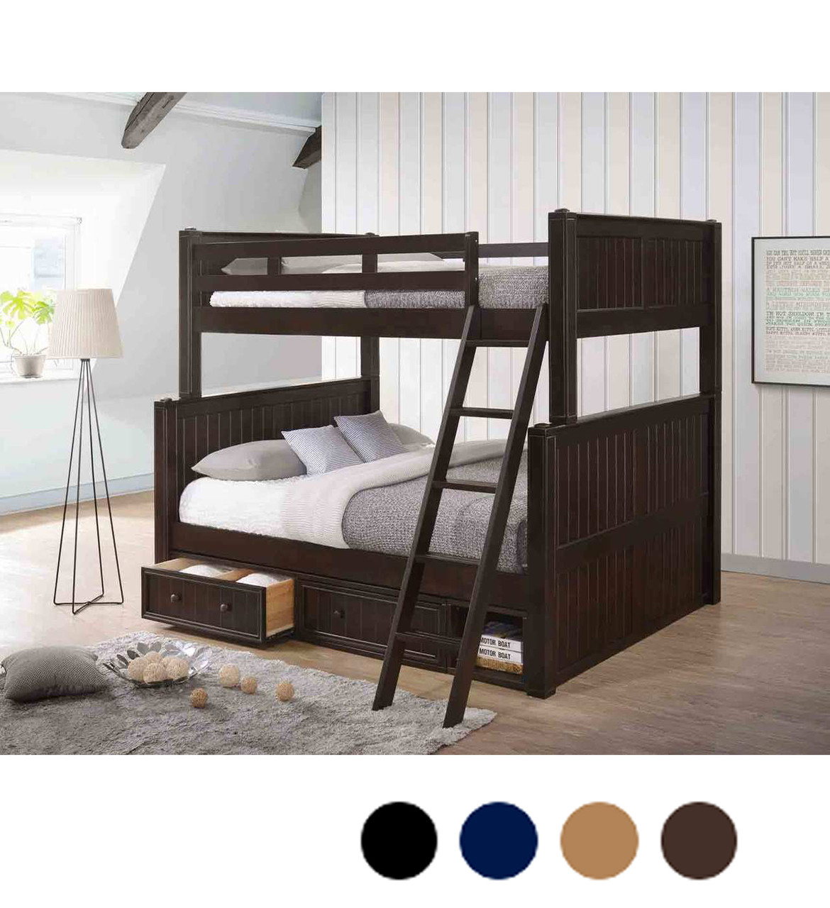 Dillon Xl Full Over Queen Wood Bead Board Bunk Bed