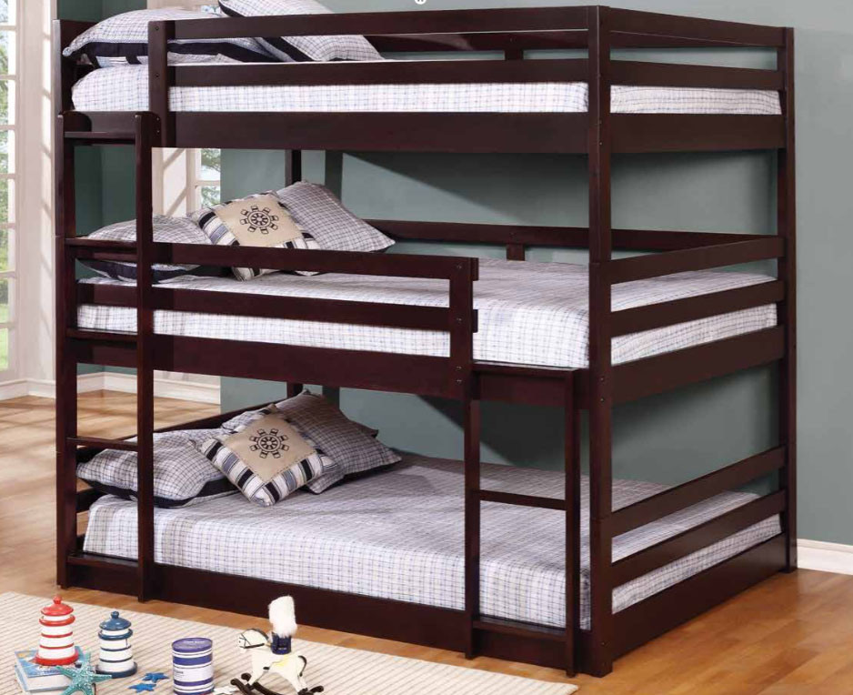 Triple Cappuccino Wood Full Size Bunk Bed For 3