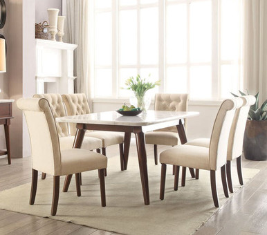 Gasha White Marble Top Dining Room Table with Four Chairs
