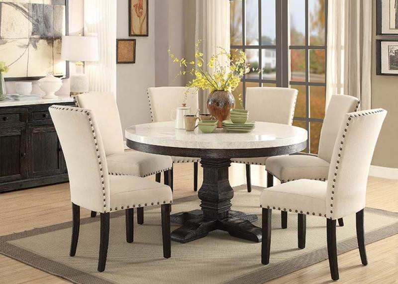 54 Quot Nolan Round White Marble Top Dining Room Set Acme 72845