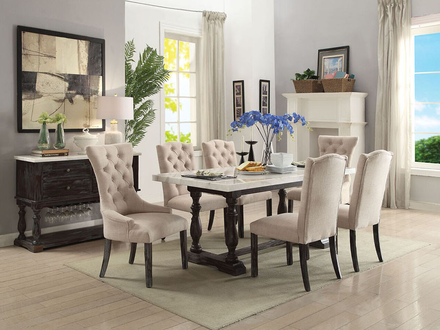 Gerardo White Marble Top Dining Set Acme 60820