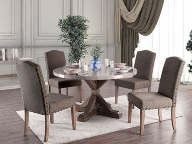 Bridgen Round Marble Table with 4 Gray Chairs