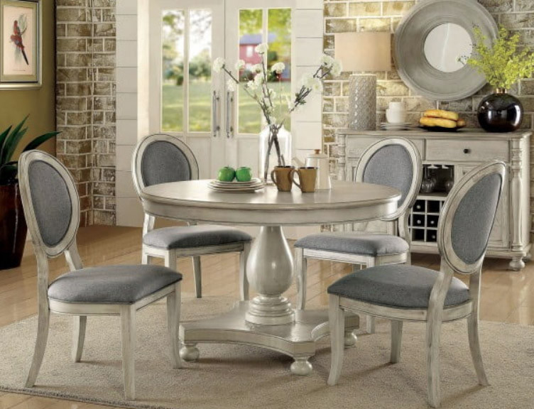 Kathryn Antique White Round Dining Table With 4 Chairs