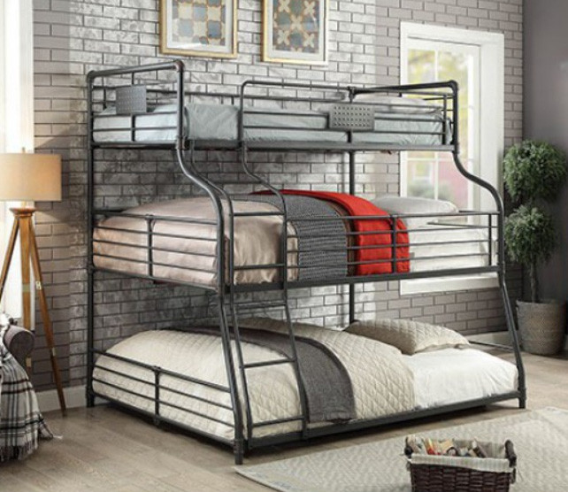 Xavier Piping Style Triple Decker Bunk Bed Twin Over