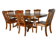 Vintage Solid Oak 7 Piece Dining Set in Whiskey Brown