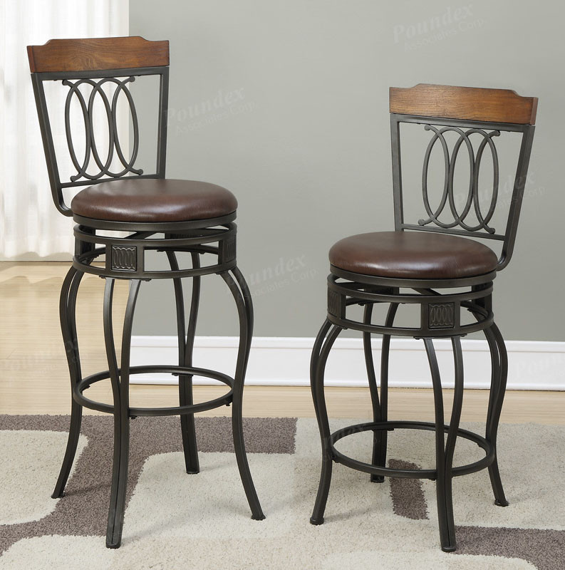 Poundex F1523 Swivel Black Metal Chairs Counter Bar Height