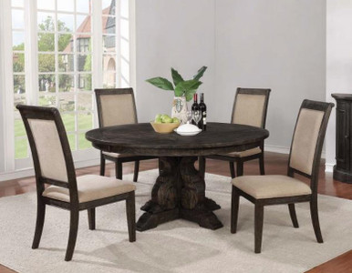 """60"""" Whitney Burnished Black 5pcs Round Table w/Chairs"""