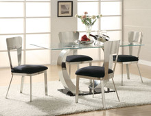 contemporary rectangular glass top table with Chrome Base 6 seater