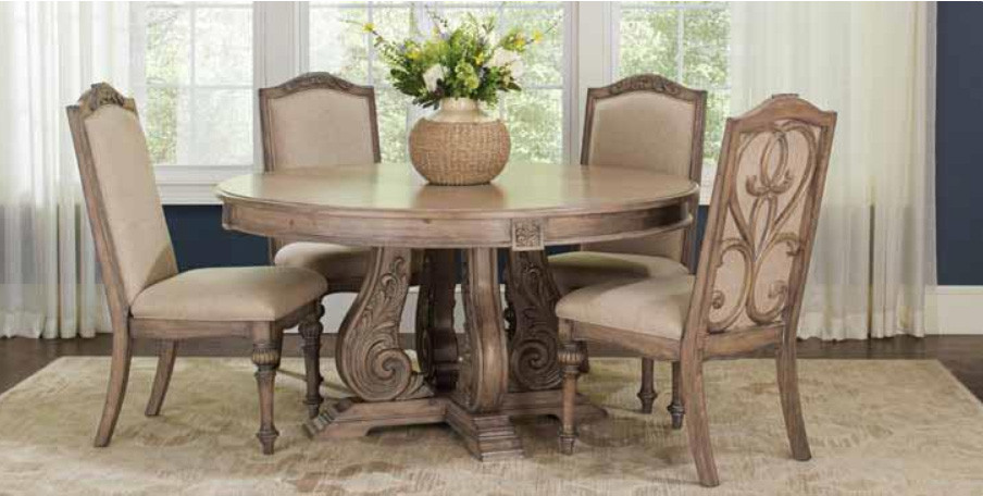 60 Round Vintage Antique Linen Wood Dining Table Set