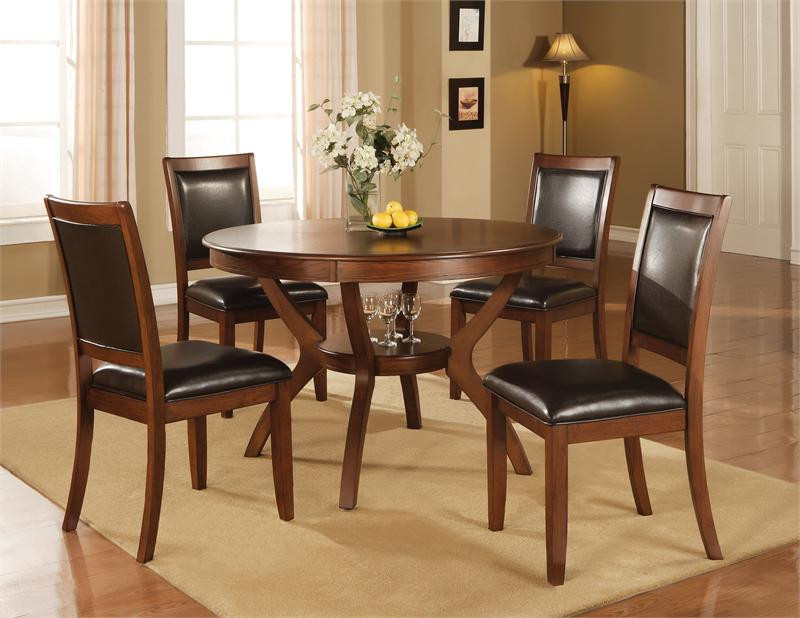Crawley Circular Walnut Table W/ Chairs