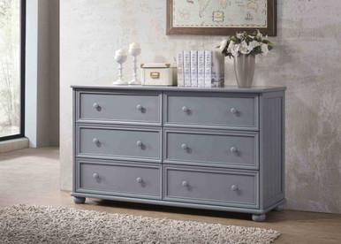 Bead Board 6-Drawer Dresser in Gray