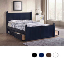 Dillon Queen Bead Board Wood Bed   Cottage Style Queen Bed with Finials