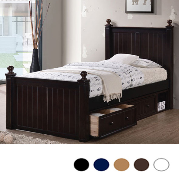 Dillon Extra Long Twin Wood Bead Board Bed | XL Beds with Trundle