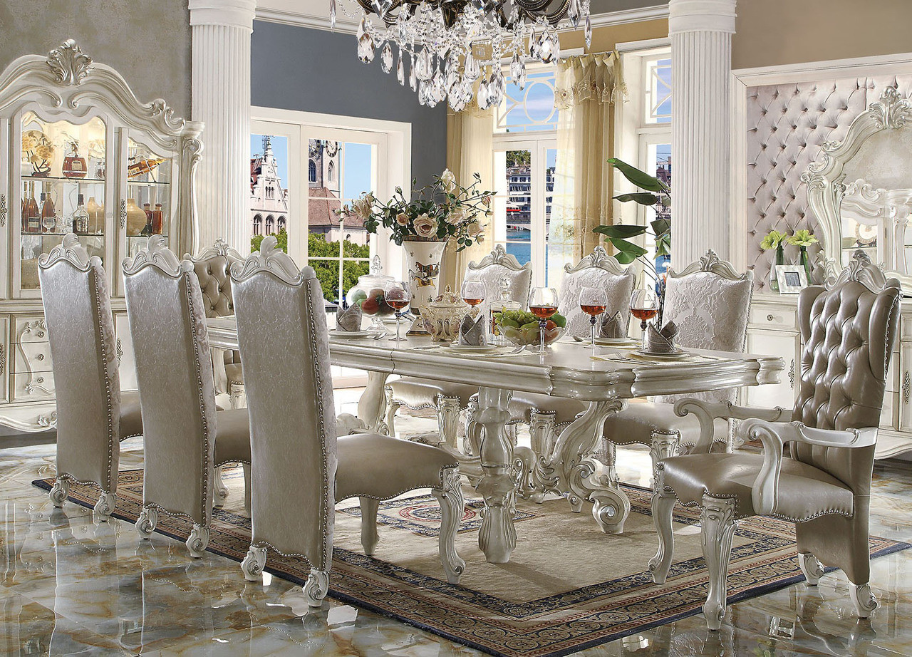 120 Quot Majestic Antique Formal Bone White Dining Table Set