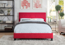 Brice Red Fabric Platform Bed   Contemporary Style Red Queen King Platform Bed