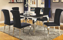 """59"""" Daisy Black Glass Stainless Steel Table with Black Chairs"""