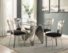 Joshua Antique Silver Glass Dining Room Table with Four Chairs
