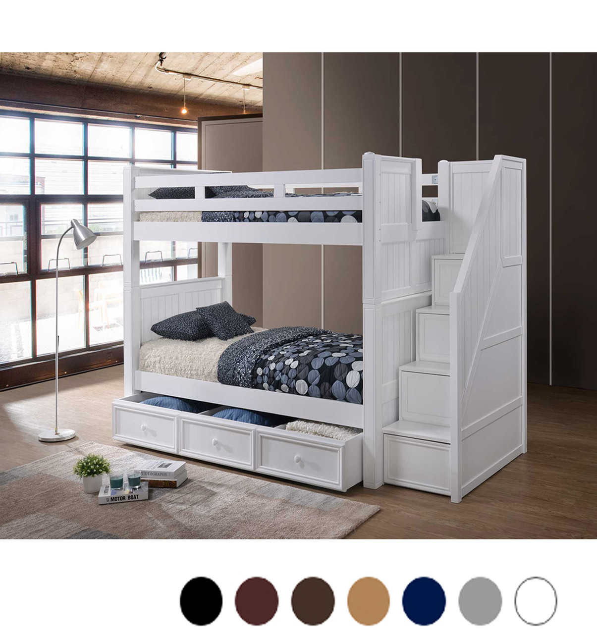 Bed Over Stair Box With Storage And Stairs: Dillon White Twin Bunk Bed With Storage Stairs