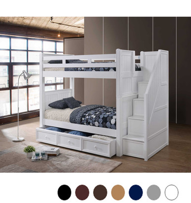 dillon white twin bunk bed with storage stairs. Black Bedroom Furniture Sets. Home Design Ideas