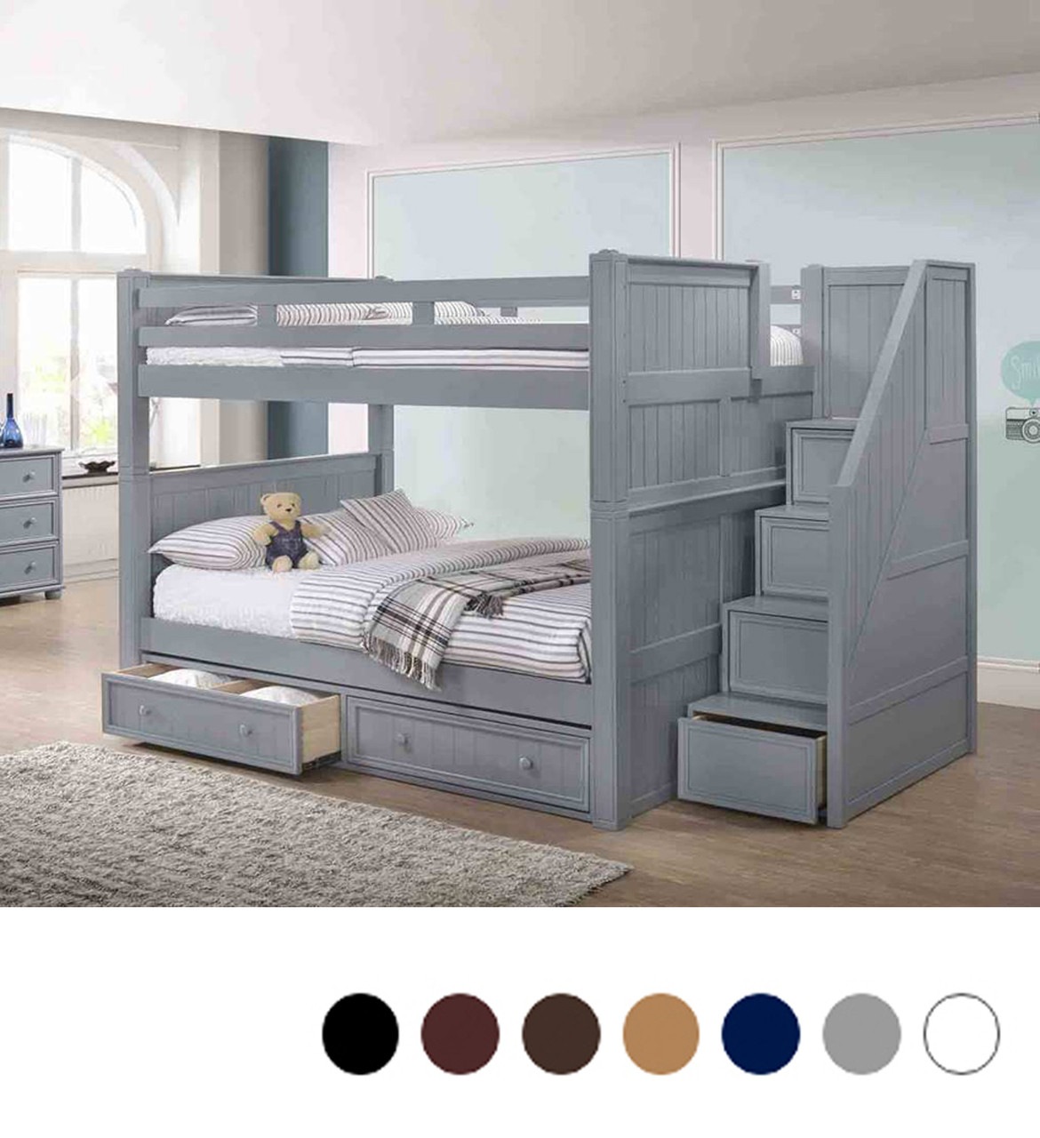 3a1449e6cb169 Dillon Full Over Full Bunk Bed with Stairs Drawers. Hover to zoom