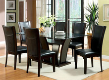 Manhattan Glass Dark Cherry Table with Chairs | Rectangular Glass Top Table