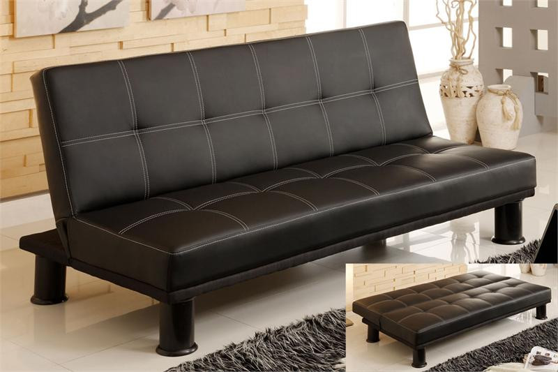 Quinn Black Leatherette Futon Sofa Bed for Sale | Futon Sofas