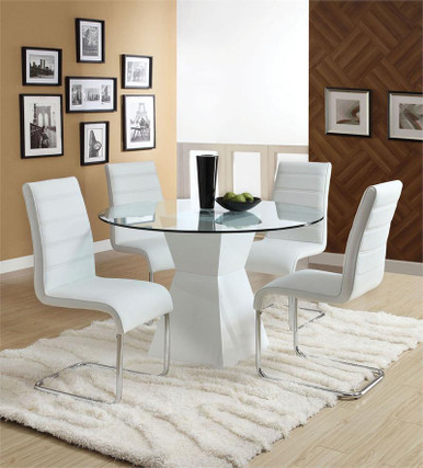 Lynelle Round White Dining Table Set | Glass Top with White Base
