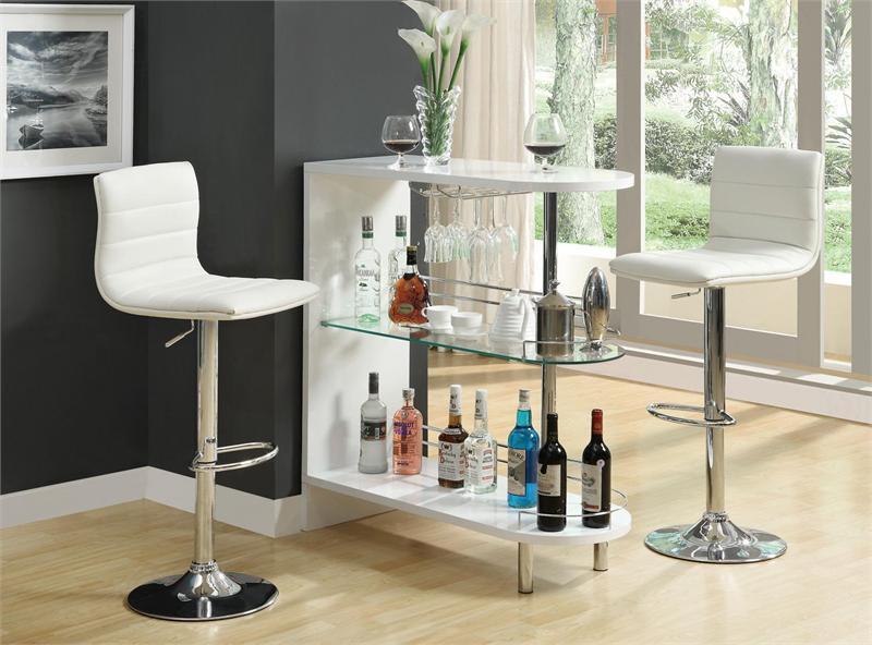 Beau Contemporary White Glass Bar Counter | Versatile Home Bar Counter In White
