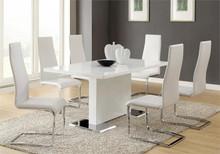Inga Modern White Dining Table w/ White Chairs