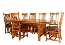 Mission Hills Solid Oak Dining Table with Leather Seats