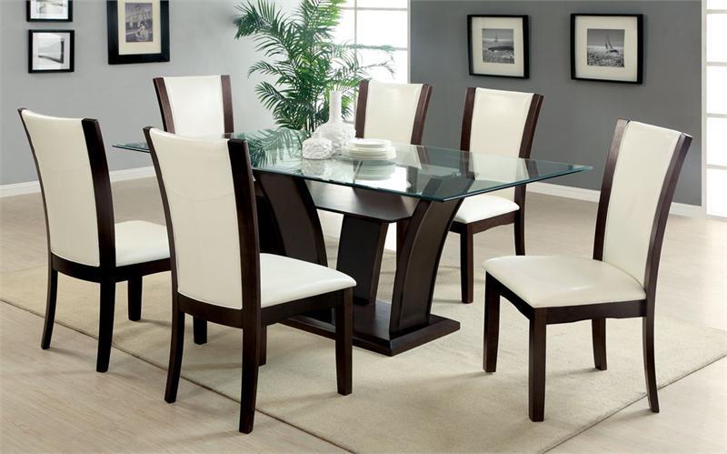 72 Manhattan I Glass Table W White Chairs
