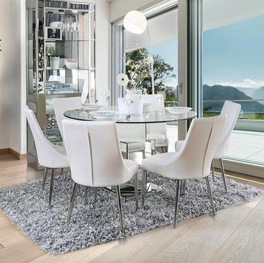 5Pc Izzy Round Glass Top Dining Table Set | Furniture of America Table CM3384T With White Chairs