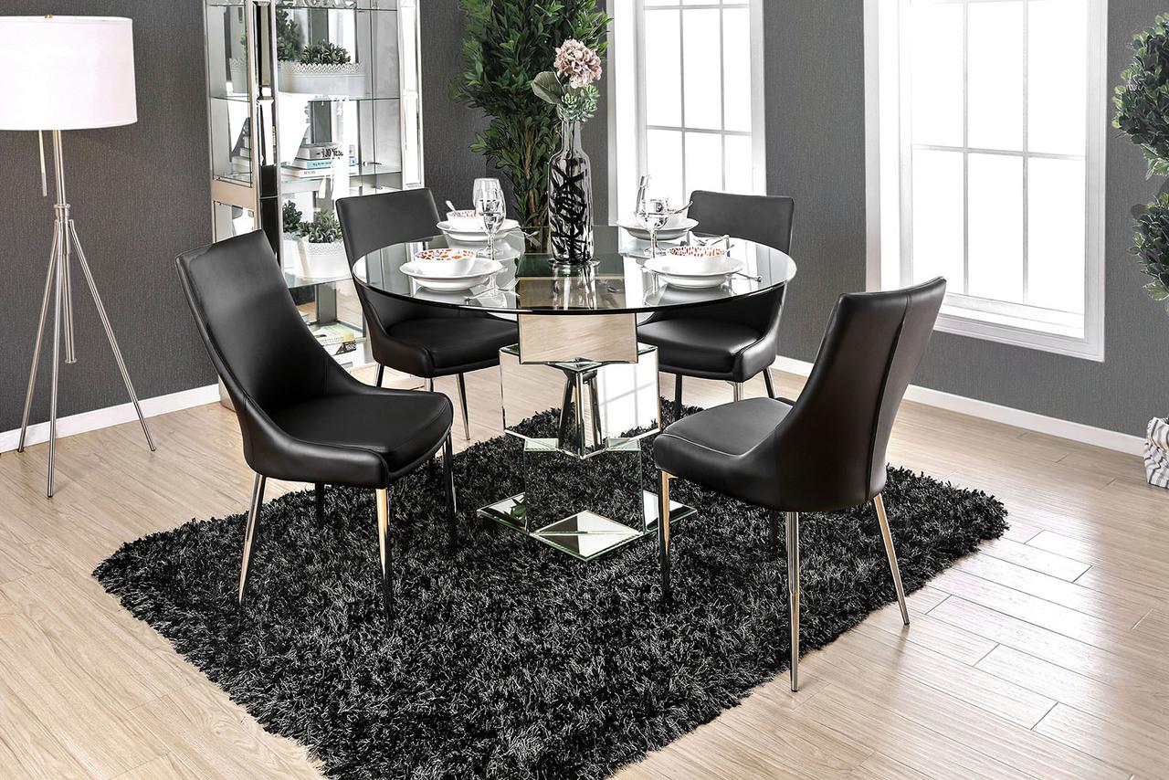5Pc Izzy Round Glass Table Set | Furniture Od America CM3384T